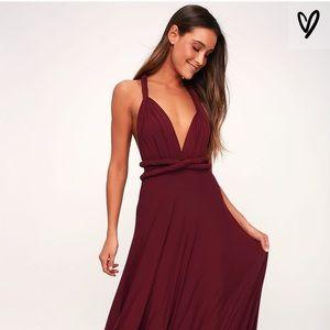 Burgundy LuLus Wrap Dress